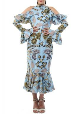 فستان أزرق برفرفات وطبعات أناناس