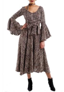 فستان غني بالألوان مخصر بحزام أنيق بيج