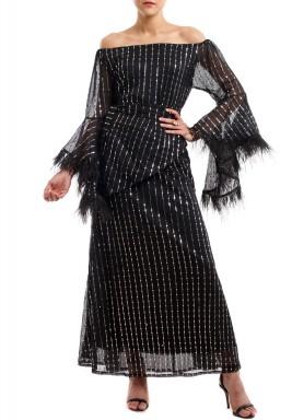 فستان بالوما البراقة السوداء