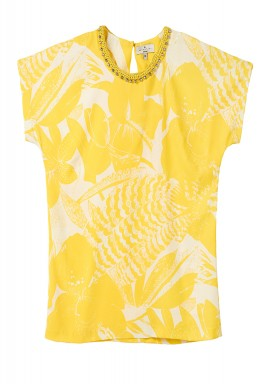 بلوزة صفراء مطبوعة بالألوان المائية