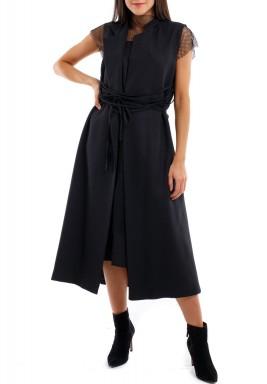 فستان شبك مع تنورة خارجية ملتفة لون أسود