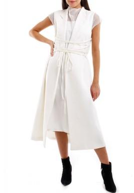 فستان شبك مع تنورة خارجية ملتفة لون سمني
