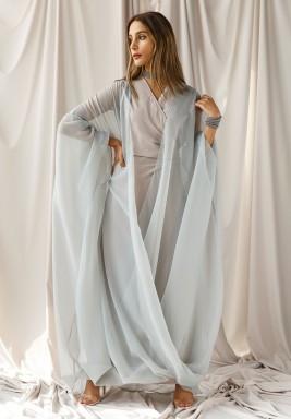 فستان أزرق نمط لف مع بشت أورجانزا