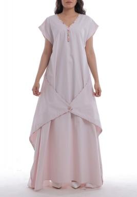 فستان وردي ماكسي بأكمام قصيرة