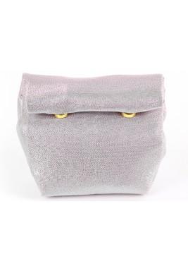 حقيبة ملتفة صغيرة - وردية وفضية