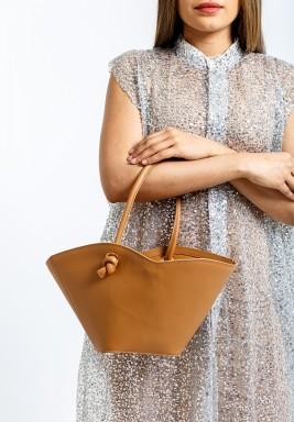 حقيبة سيلا عسلية صغيرة جلد