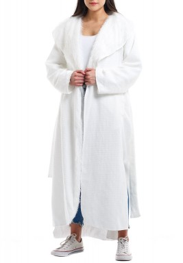 معطف أبيض مزدوج بأكمام طويلة