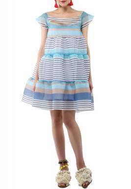 فستان بيبي دول بخطوط افقية زرقاء