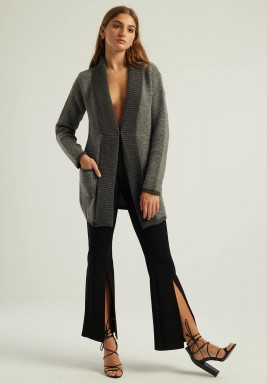 GREY OPEN FRONT KNIT CARDIGAN
