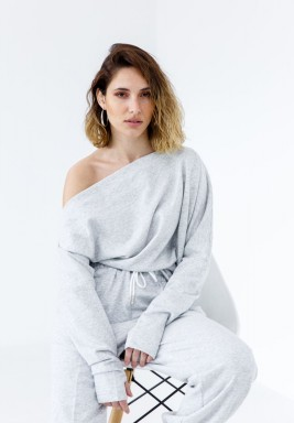 Gray One-shoulder stretch Thumbhole sweater