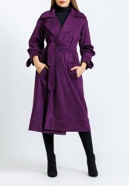 معطف بنفسجي محزم متوسط الطول