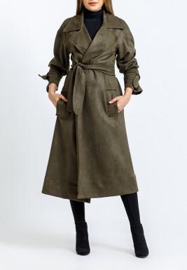 معطف زيتي محزم متوسط الطول