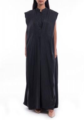 فستان أسود بدون أكمام نمط رداء