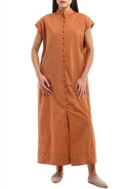 فستان الزر البرونزي وبرتقالي