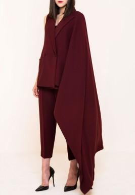 معطف تصميم متباين الطول كستنائي