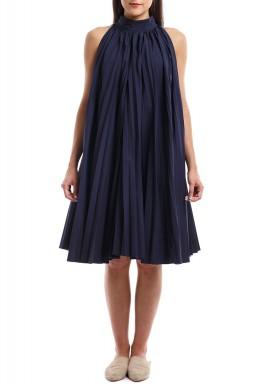 فستان قطني قصير بطيات لون كحلي