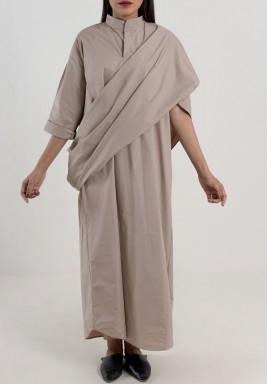 فستان بشال تصميم ثوب تراثي مميز  رمادي داكن