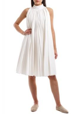 فستان قطني قصير بطيات لون سمني