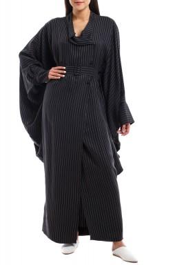 فستان بليزر مخطط أسود