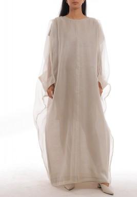 فستان رمادي فضفاض شفاف بأكمام طويلة