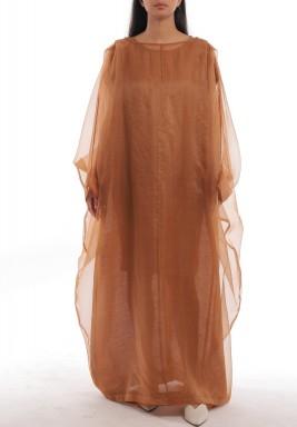 فستان عسلي شفاف فضفاض بأكمام طويلة