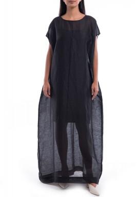 فستان أسود فضفاض شفاف بأكمام قصيرة