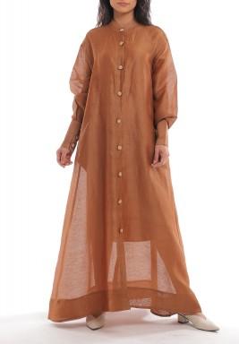 فستان عسلي ماكسي طراز عثماني