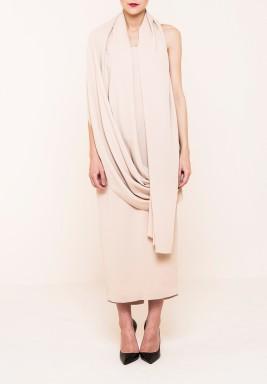 فستان بنمط ملتف بيج