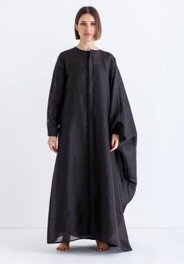 قفطان أسود فضفاض بنمط قميص