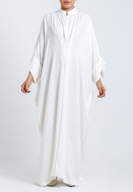 White plain long sleeve dress