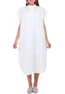 فستان قطن بوبلين أبيض