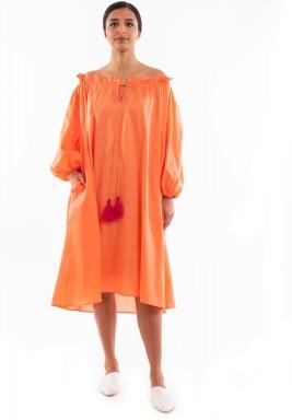 فستان خوخي برفرفات متوسط الطول
