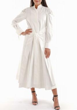 فستان قطني طويل أبيض
