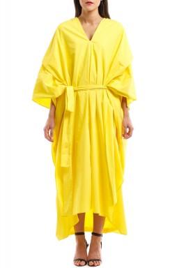 فستان كاجوال أصفر طويل