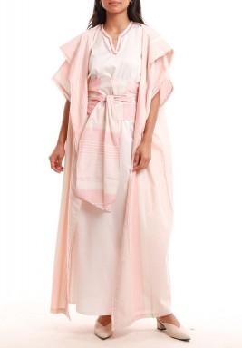 طقم الأقصر الوردي فستان وبشت مخطط