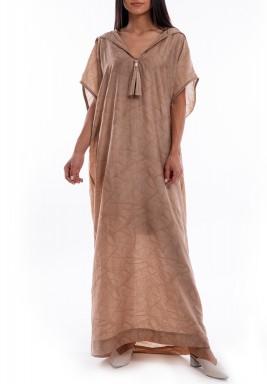فستان بني بأكمام قصيرة وقبعة