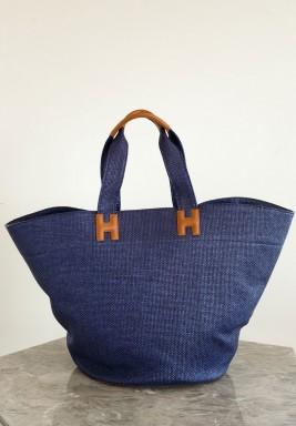رافيا حقيبة شاطئ لون ازرق