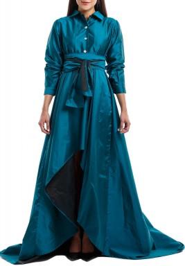 فستان كاميل الأخضر متباين الطول