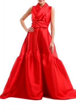 فستان أحمر محزم منفوش