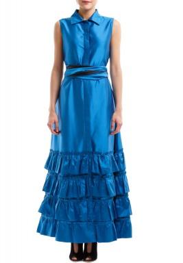 فستان أزرق محزم برفرفات