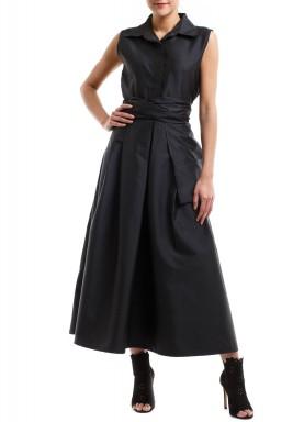 فستان أسود محزم بجيب كبير