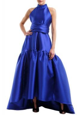 فستان أزرق منفوش بدون أكمام