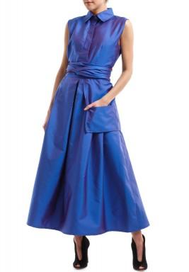 فستان أزرق محزم بجيب كبير