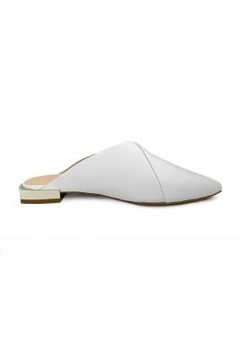 حذاء جود الأبيض الجلد بمقدمة مدببة
