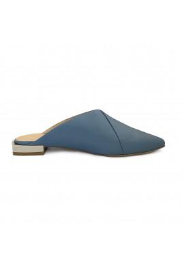 حذاء أزرق مخضر جلد بمقدمة مدببة