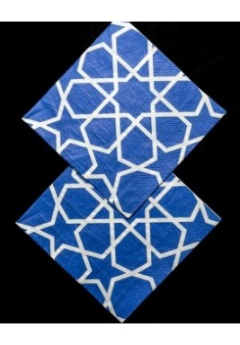 محارم ورقية بنمط أشكال هندسية كحلي 25*25*طبقتين*20 حبة