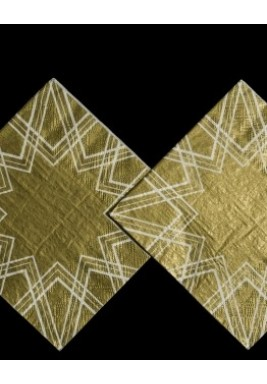 محارم ورقية بنمط أشكال هندسية ذهبي 25*25*طبقتين*20 حبة