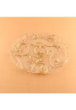 طبق زجاج دائري بنقشة ذهبية