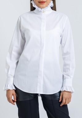 قميص أبيض قطني برفرفات