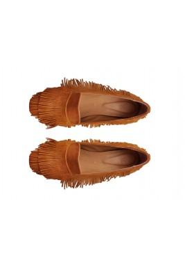 حذاء جبل العسلي المخملي بشراشيب